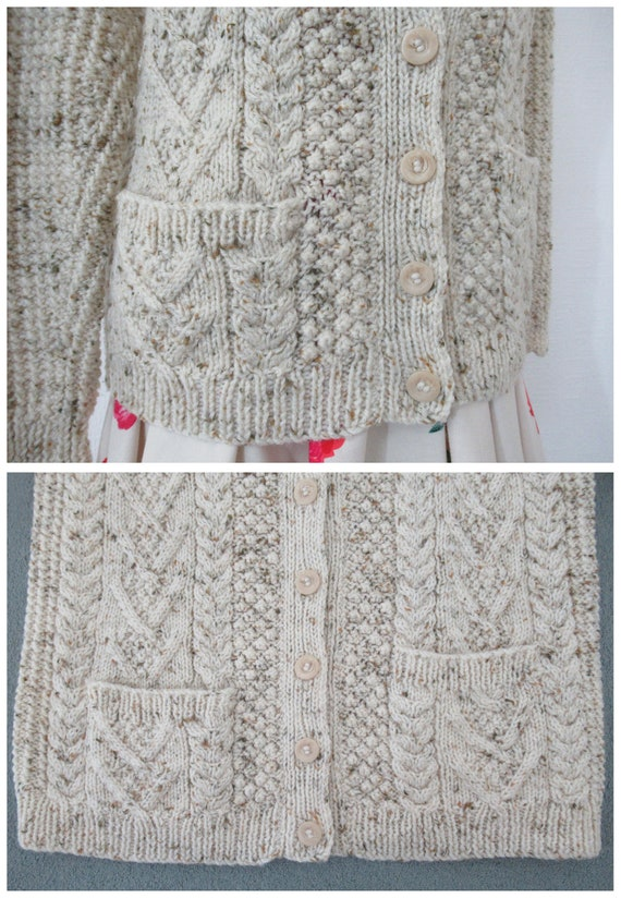 Vintage Hand Knit Wool Cardigan - Aran Cable Knit… - image 10