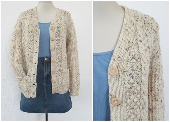 Vintage Hand Knit Wool Cardigan - Aran Cable Knit… - image 2