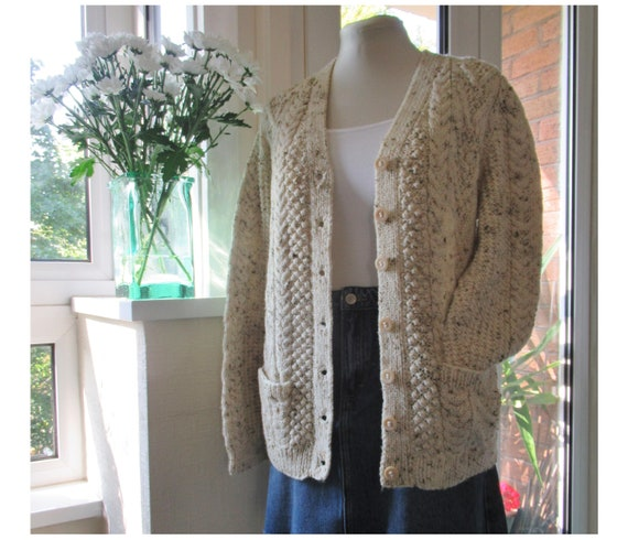 Vintage Hand Knit Wool Cardigan - Aran Cable Knit… - image 1