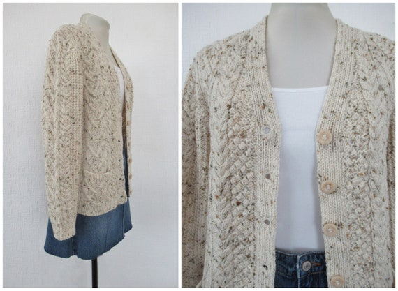 Vintage Hand Knit Wool Cardigan - Aran Cable Knit… - image 4