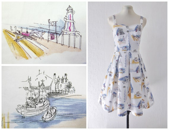 1970s Novelty Print Dress 1940s 50s Nautical Itali