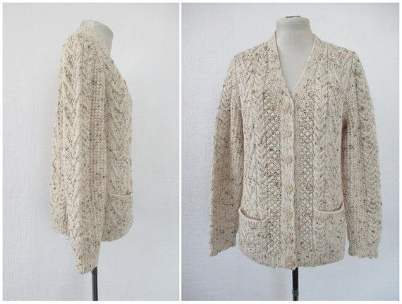 Vintage Hand Knit Wool Cardigan - Aran Cable Knit… - image 7