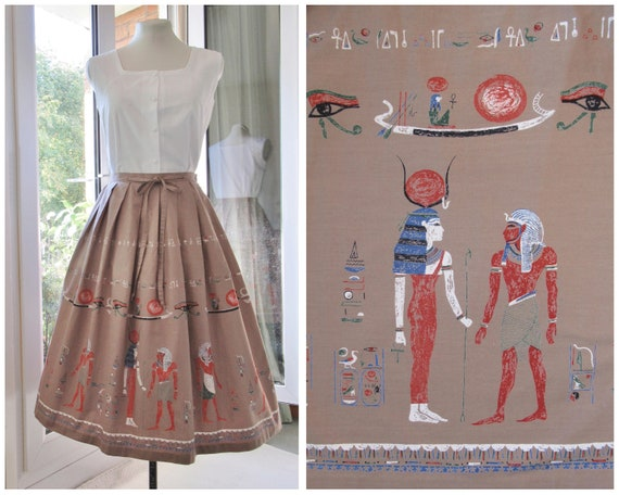 60s 1950s Novelty Print Skirt with Egyptian Border