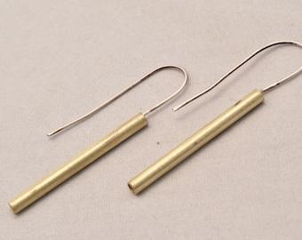 Brass stick earrings with silver ear wire