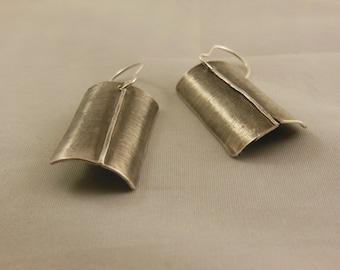 Silver Shield Hammered Earrings