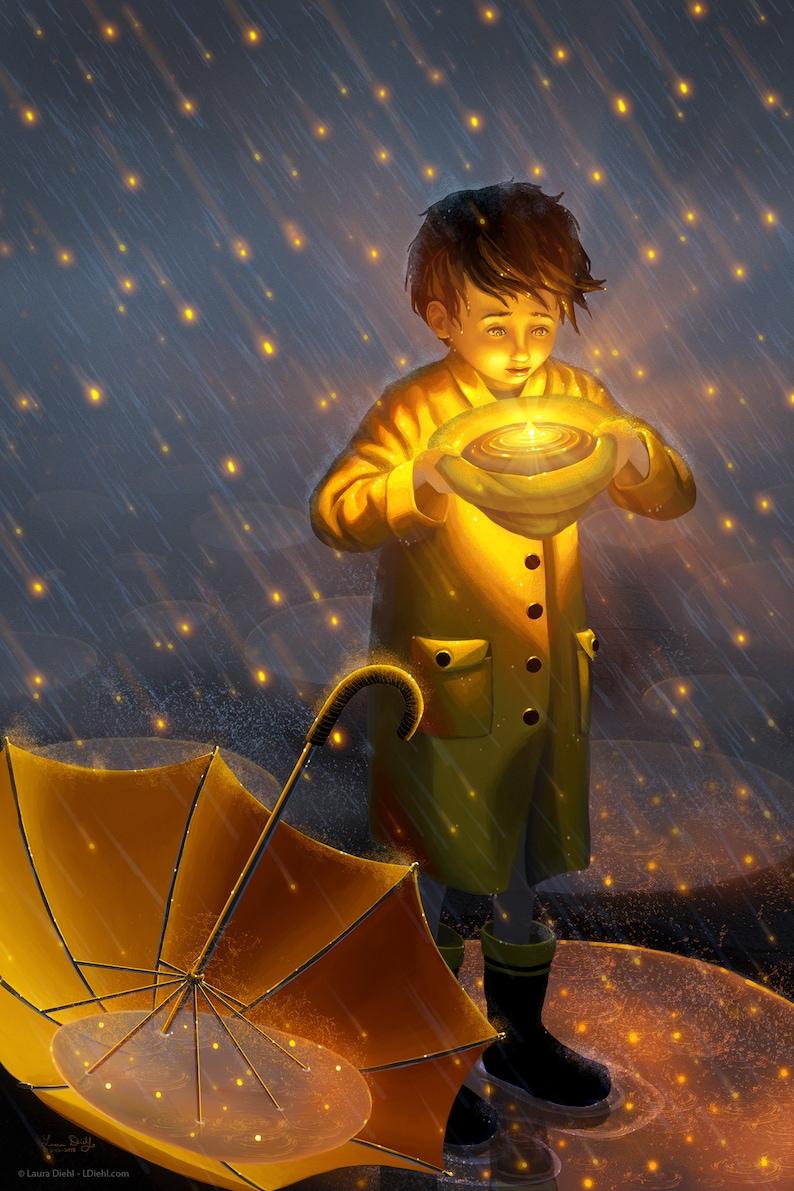 Starfall Print  Rainy Nursery Baby Boy Rain Jacket Art image 0