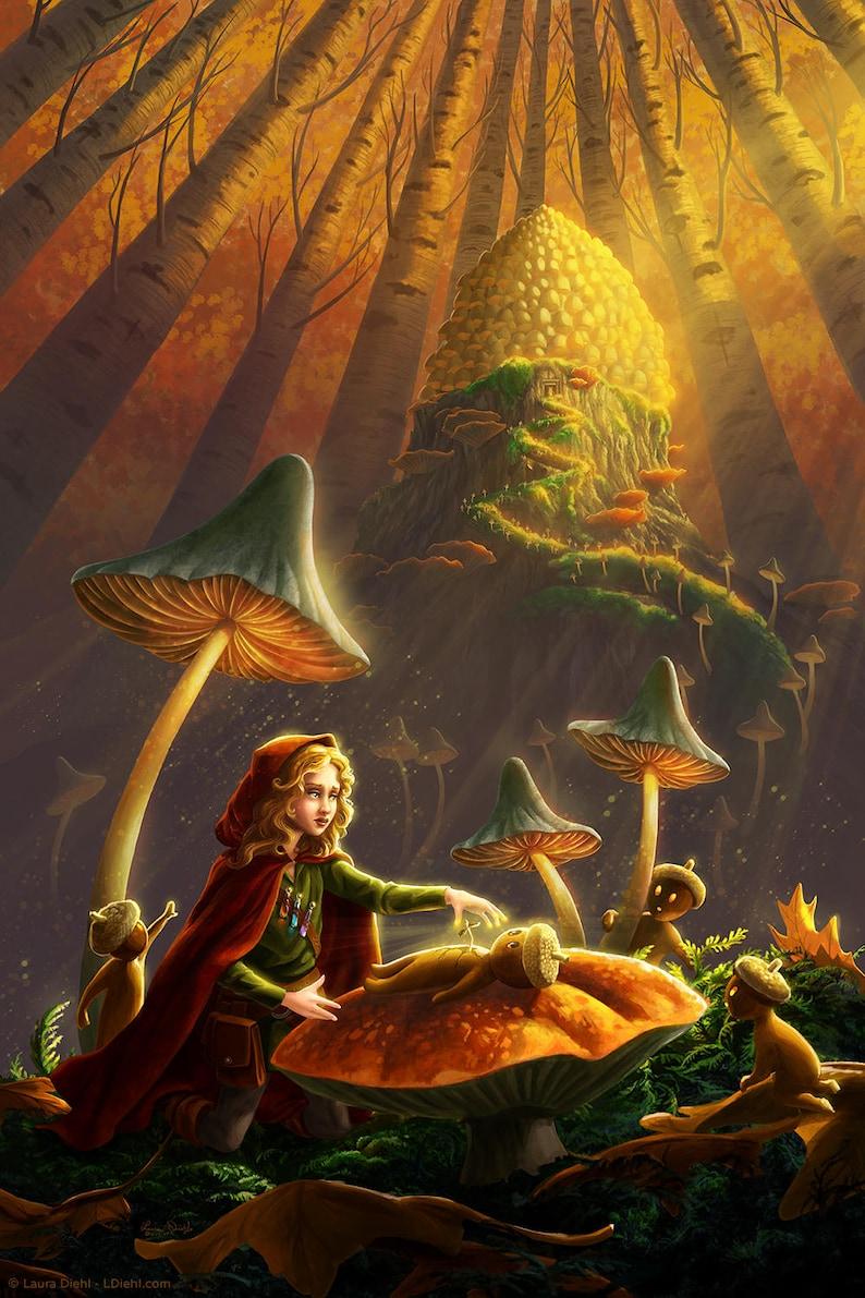 From Acorns Print  Woodland Nursery Leaf Art Magical image 0