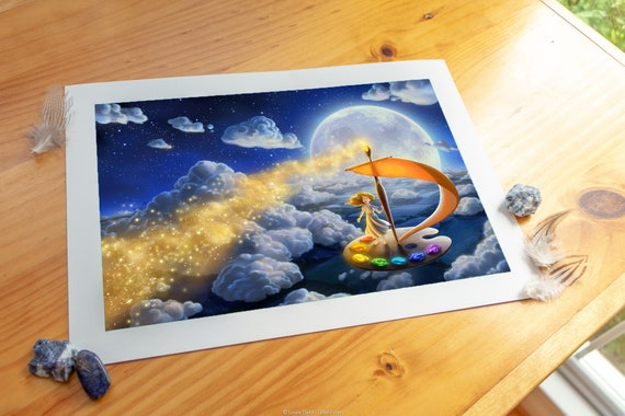 Flying Colors Print Wall Art Nursery Decor Stars Moon Baby Girl Fantasy Kids Room Decor Blue Gold Star Art Glow