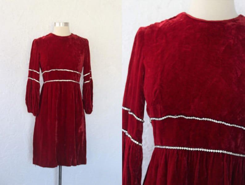 443ede063cb 1960s Velvet Dress   Vintage 60s Gay Gibson Red Velvet Mod