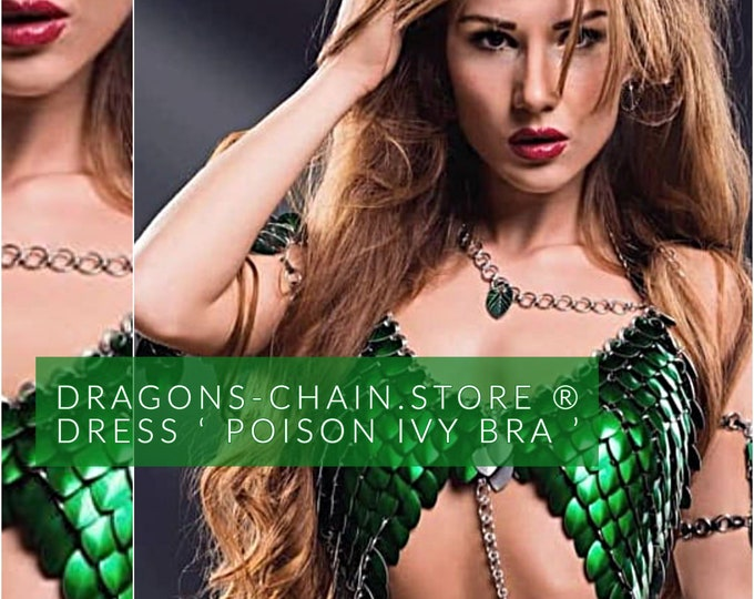 Featured listing image: Poison ivy Costume - chain bra, chainmail bra, dragon costume