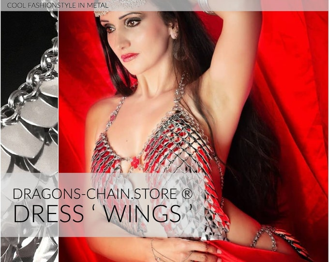 Featured listing image: Dress 'Wings' Chain bra, chainmail dress, chainmail bra