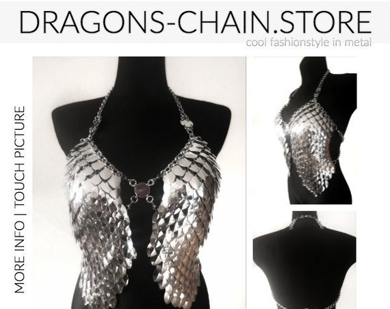 Dress 'Wings' Chain bra, chainmail dress, chainmail bra