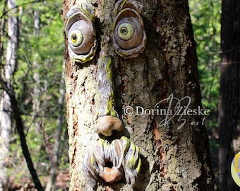 "Large (Concrete)  tree face ""Ole Treemun"" • Xmas Gifts • Garden Sculpture • Perfect Gift Ideas • Yard Art • Fun Gifts • Garden Décor"