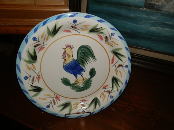 Vintage French Kitchen Design Rooster Decorative Plate French Blue Colors  Plate for Kitchen Wall Deep Dish Plate Kitchen Decor Chef\'s Decor