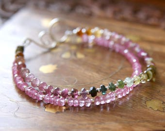 Summer on the High Fells Bracelet - Pink Green Ombre Watermelon Tourmaline, Mystic Topaz Gemstone Beaded Sterling Silver Jewellery by Ikuri