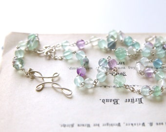 Fluorite Rosary - Light Green Purple Fluorite Gemstone Beaded Sterling Silver Long Rosary Necklace, Handmade Jewellery by Ikuri immortelle