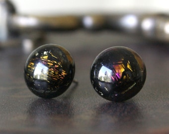 Steampunk Earring Posts - Black Brown Yellow Purple Dichroic Glass Stud Earrings, Handmade Hypoallergenic Surgical Steel Jewellery