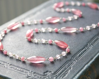 Sweetheart Necklace - Light Pink Rosequartz Colored Jade Gemstone Glass Beaded Long Necklace, Handmade Sterling Silver Jewellery by Ikuri