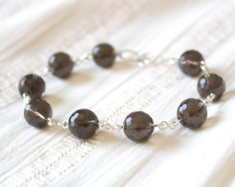 Light and Shade Bracelet - Brown Faceted Smoky Quartz Gemstone Beaded Bracelet, Sterling Silver Jewellery Handmade by Ikuri immortelle