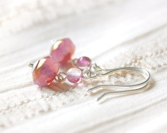 Sweetheart Earrings - Light Pink Faceted Glass Beaded Sterling Silver Dangle Earrings, Handmade Jewellery by Ikuri immortelle, FREE SHIPPING
