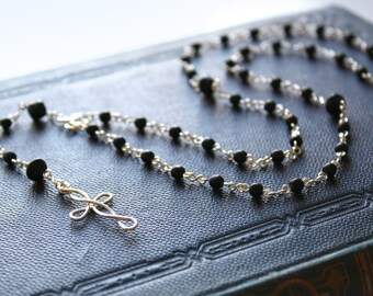Black Rosary - Black Glass Beaded Long Rosary Necklace, Men's Unisex, Sterling Silver Jewellery Handmade by Ikuri immortelle, FREE SHIPPING