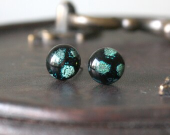 Midnight Snowfall Earring Posts - Green Black Dichroic Glass Stud Earrings, Hypoallergenic Surgical Steel Jewellery Handmade by Ikuri