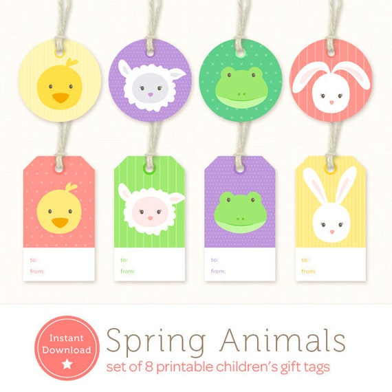 photograph about Printable Gift Labels known as Fast Obtain Easter Present Tags - Boy or girl Pets Printable Present Labels - Printable Easter Tag - Duck, Lamb, Frog Bunny - Boy or girl Present Tag PDF