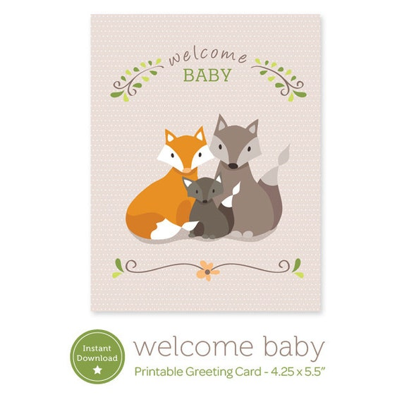 Instant Download Welcome Baby Printable Card Fox Family Etsy