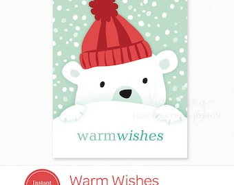 Printable Holiday Card - Instant Download Polar Bear Christmas Card - Warm Wishes Digital Holiday Card PDF file