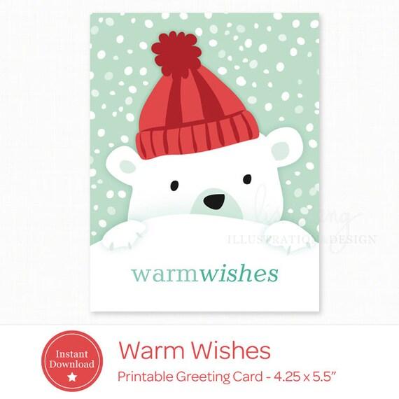 printable holiday card instant download polar bear christmas etsy