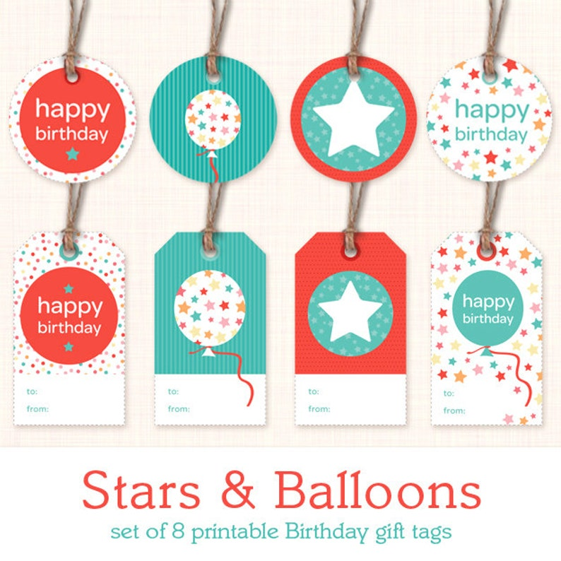 image regarding Printable Birthday Gift Tags titled Printable Birthday Present Tags - Fast Obtain Electronic Present Labels - Blue and Pink - Balloons and Superstars