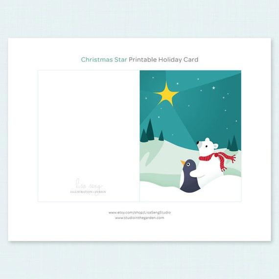 graphic regarding Christmas Star Printable named Printable Xmas Card - Xmas Star Printable Holiday vacation Card - Polar Undertake Penguin Printable Xmas Card PDF - 4.25\