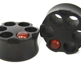 Russian Roulette Plug/Plugs Ebony & Bullet Wood