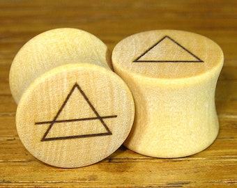 The Elements Plugs Air & Earth, Fire, Water  Gauges/Stretchers Sigil Plugs
