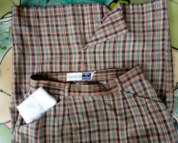 Madras Skirt 1950s Plaid Pockets Preppie Pencil Vi