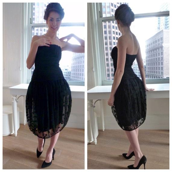 1980s Strapless Dress NEW Black Tulle Bubble Ballo
