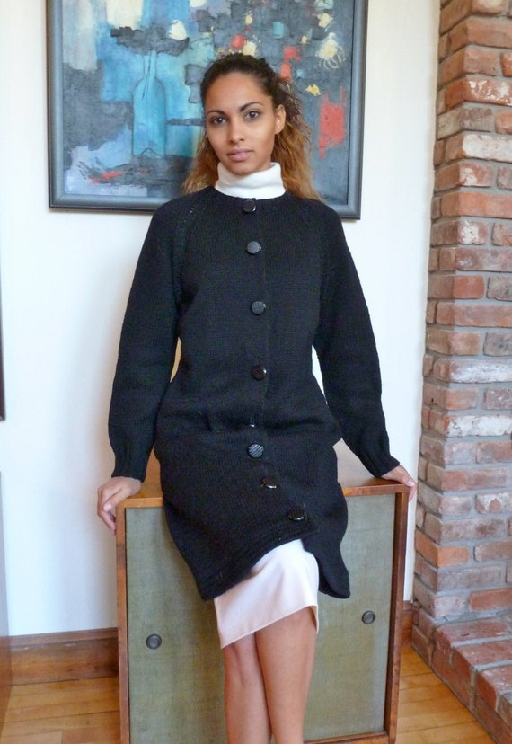 Hand Knit Cardigan Sweater Dress Coat Black Wool 1