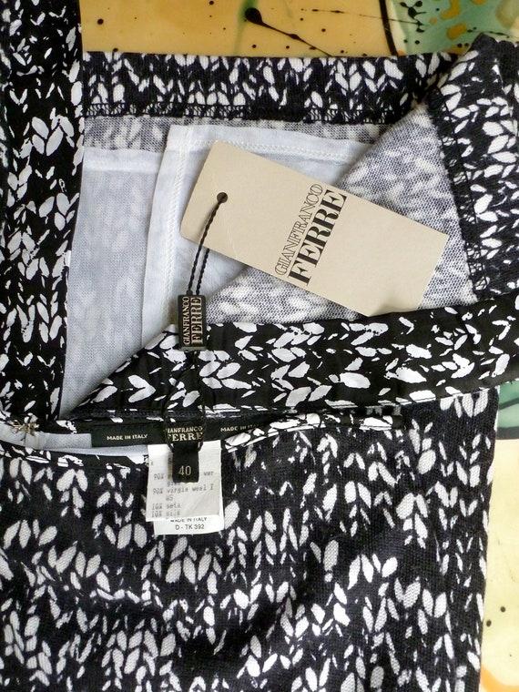 NWT 1990s Ferre Maxi Skirt  Wool Trompe L Oeil Lon
