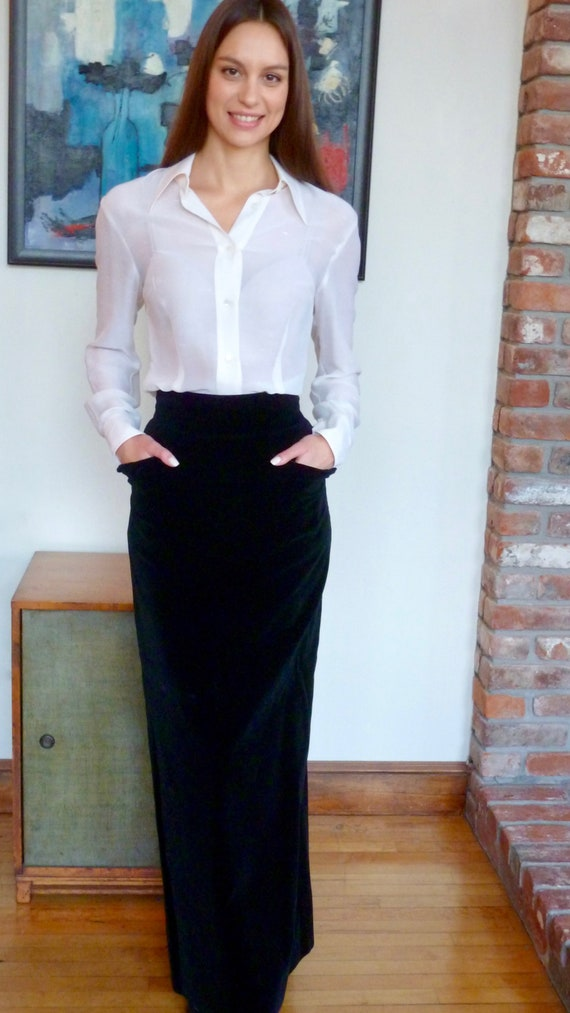 Jean Patou Black Velvet Couture Skirt Vintage 1960