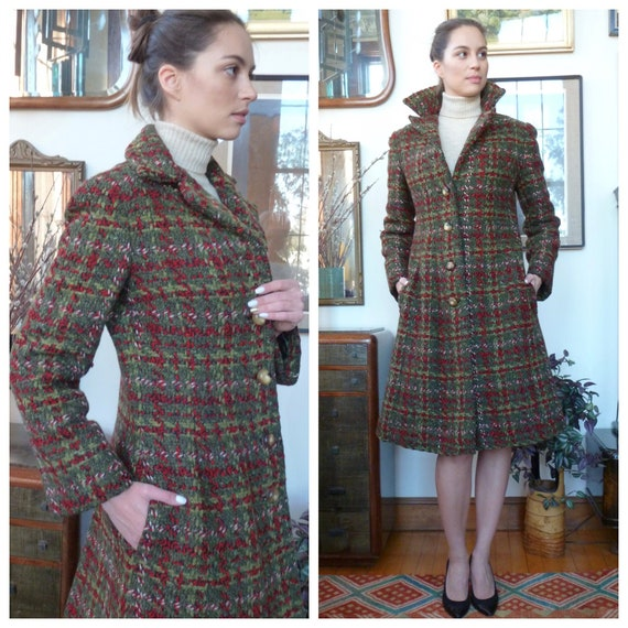 Pauline Trigere Coat Princess Cut Imported Tweed V