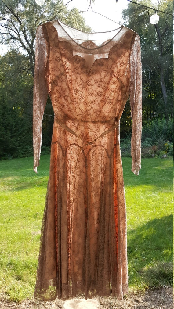 Vintage 1940s/1950s Dusty Rose Lace Overlay Dress