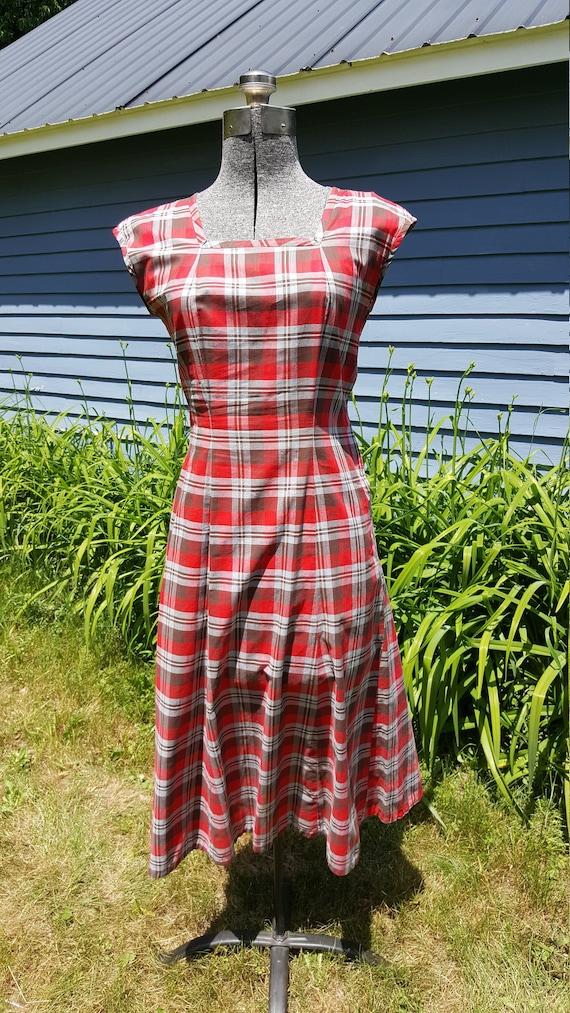 Vintage 1940s/1950s Red Plaid Cotton Dress