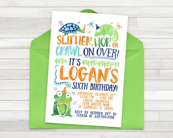 Reptile Birthday Invitation Printable Lizard Invite Snake Frog