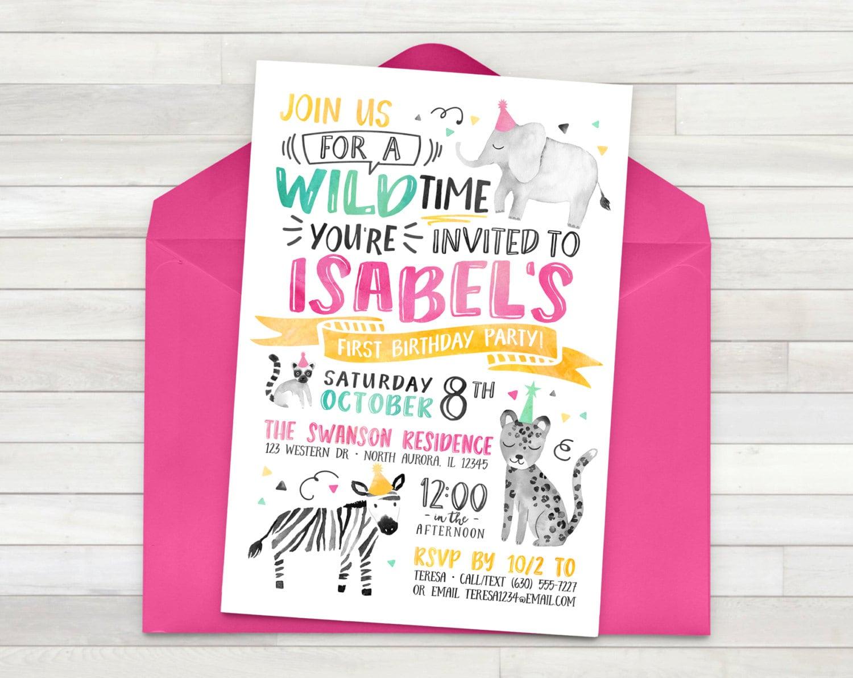 Girl Zoo Birthday Invitation Wild Animal Birthday Party   Etsy