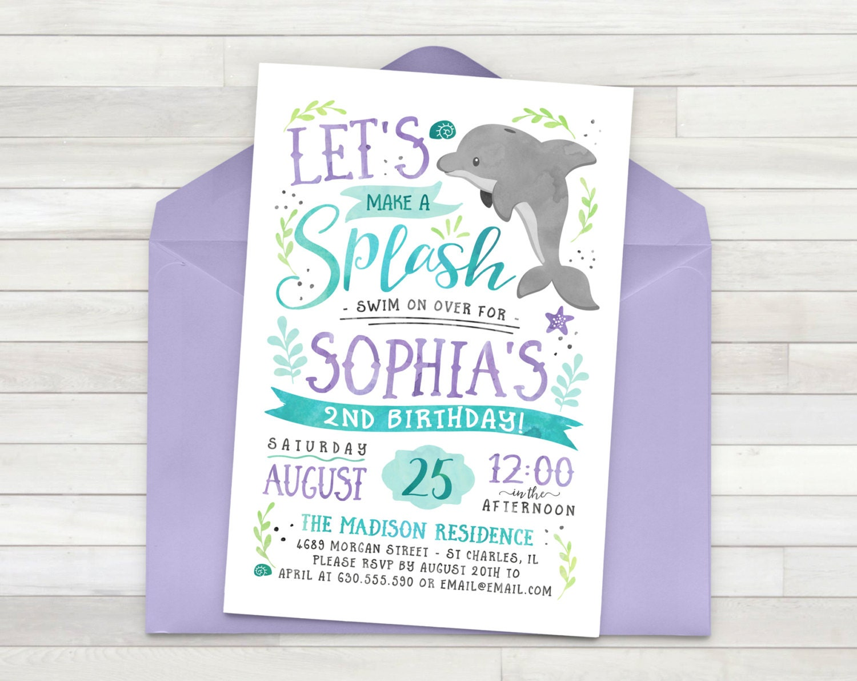 Dolphin Birthday Invitation Ocean Birthday Invitation Under | Etsy