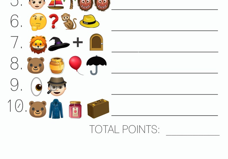 Baby Shower Emoji Pictionary Game with answer key | Etsy
