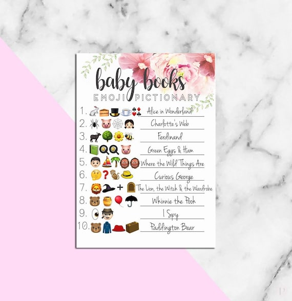 Baby Shower EMOJI PICTIONARY guessing game with answers | Etsy