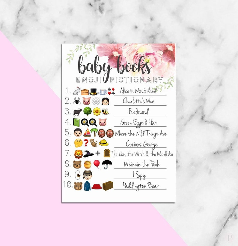 Baby Shower EMOJI PICTIONARY guessing game with answers - Classic Baby Book  & Nursery Rhyme Titles - Instant Download Printable
