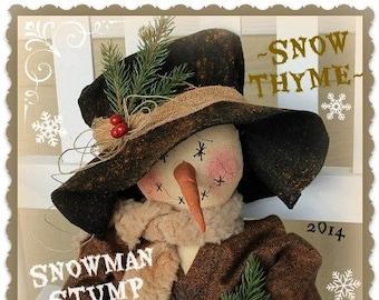 Primitive Snowman Pattern Snow Thyme Snowman Stump Doll PDF Sewing Cloth Doll Christmas Pattern