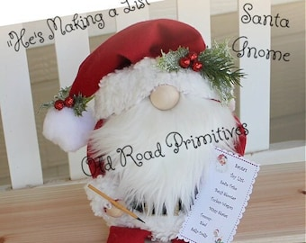 Primitive Santa Gnome Pattern, He's Making a List, Christmas PDF Sewing Pattern, Wreath Add-on,